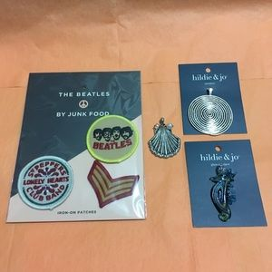 3 Beatles patches and 3 pendants